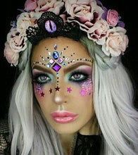 Product Photo of Kiss & Glitter Festival Face Gems being worn as makeup