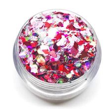 Product Photo: Close up of pink and holographic red Chunky Festival Glitter