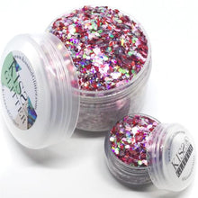 Product photo with packaging of 30g pots of Pink and Holographic Chunky Festival Glitter by Kiss & Glitter