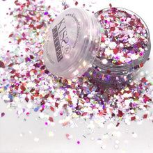 Product Photos with packaging - Naomi the rose pink, purple, iridescent white Chunky Glitter by Kiss and Glitter