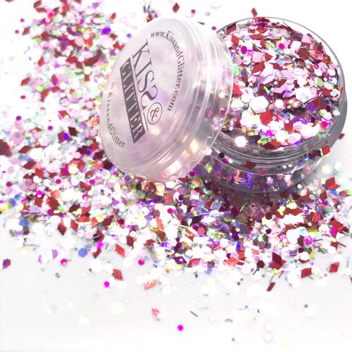 Product Photo with packaging of Pink and Red Holographic Chunky Festival Glitter by Kiss & Glitter