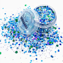 Product Photo close up of turquoise blue and green Chunky Festival glitter by Kiss & Glitter