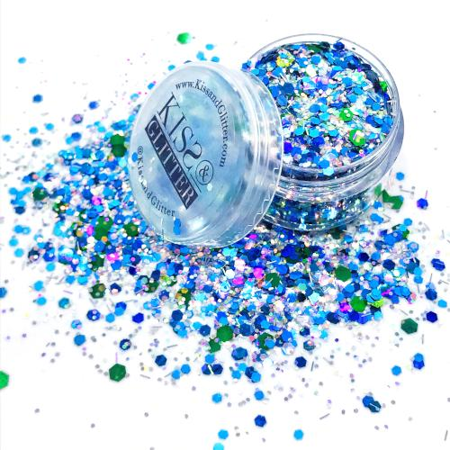 Juliet - Turquoise blue, green and silver Chunky Festival Glitter