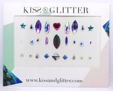 Product Photo with packaging: holographic multi-colour stick on festival face gems by Kiss & Glitter