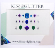 Product Photo with packaging: Pink, green and blue stick on festival face gems by Kiss & Glitter