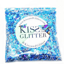Product Photo without Packaging of 10g holographic blue and silver Chunky Festival glitter by Kiss & Glitter