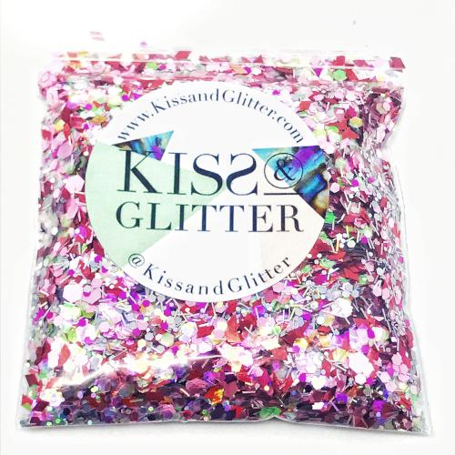 Product Photo without Packaging of 10g bag of holographic Red diamonds and pink Chunky Festival glitter by Kiss & Glitter