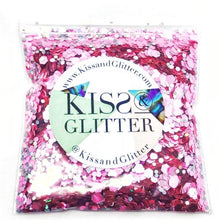 Product Photo with Packaging of 10g pack of pink and silver holographic Chunky Festival glitter by Kiss & Glitter