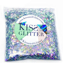 Product Photo without Packaging of 10g bag of holographic silver Chunky Festival glitter by Kiss & Glitter