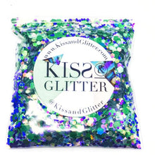 Product Photo without Packaging of 10g pack of Green, Purple and iridescent white Chunky Festival glitter by Kiss & Glitter