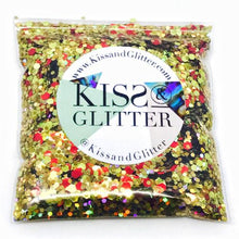 Product Photo without Packaging of 10g pack of holographic Gold and Red Chunky Festival glitter by Kiss & Glitter