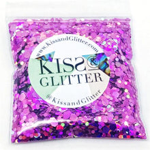 Product Photo without Packaging of 10g pack of holographic purple super Chunky Festival glitter by Kiss & Glitter