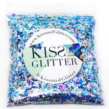 Product Photo without Packaging of 10g pack of holographic blue, green and iridescent Chunky Festival glitter by Kiss & Glitter