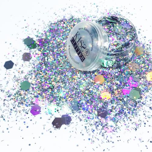 Product Photo with Packaging of super chunky silver Festival Glitter by Kiss & Glitter
