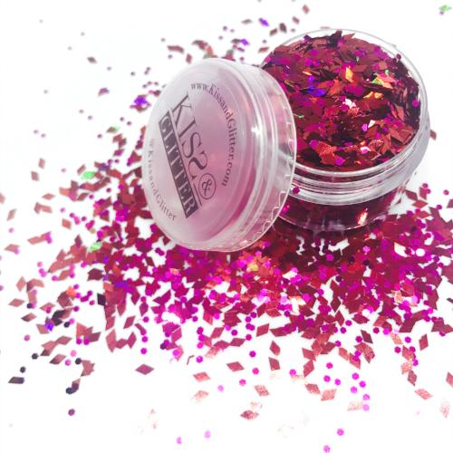 Product Photo without Packaging of holographic Red diamonds and pink Chunky Festival glitter by Kiss & Glitter