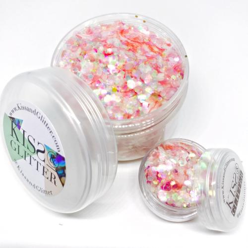 Product Photo of 30g Blue and Holographic Orange Pink and Peach Chunky Festival Glitter by Kiss & Glitter