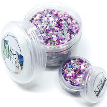 Product Photo of 2x different size products with packaging of pink, purple and peach holographic Chunky Festival Glitter by Kiss & Glitter