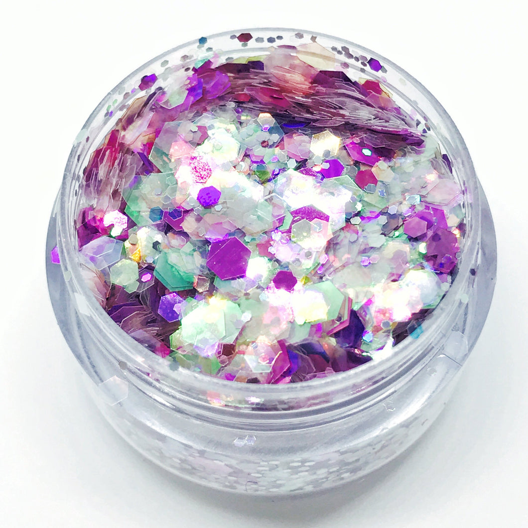 Product Photo Close Up of pink, purple and peach holographic Chunky Festival Glitter by Kiss & Glitter