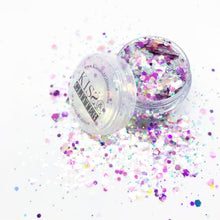 Product Photo with packaging of pink, purple and peach holographic Chunky Festival Glitter by Kiss & Glitter