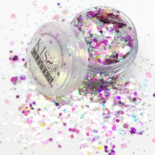 Product Photos with packaging - Naomi the pink, purple, iridescent white and peach Chunky Glitter by Kiss and Glitter