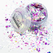 Product Photo with packaging close up of Naomi Pink, purple, iridescent white and peach chunky festival glitter by Kiss and Glitter