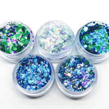 Product Photo of The Blues Brothers, Turquoise, Blue and Silver Chunky Festival Glitter set by Kiss and Glitter
