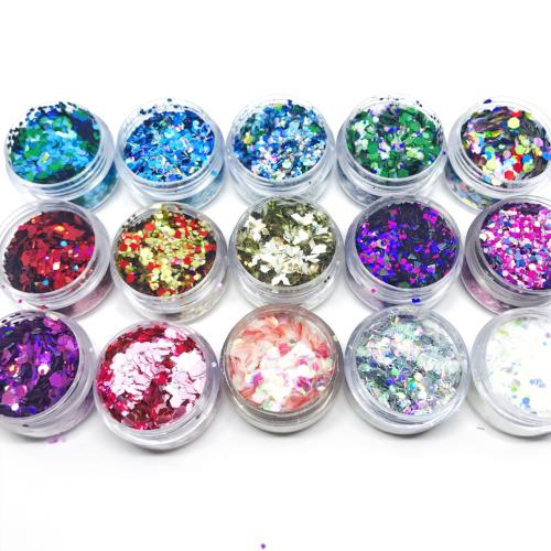 Product Photo without packaging: The Full Works, all 15x of our chunky festival glitter mixes by Kiss & Glitter