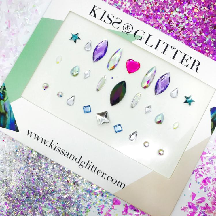 Product Photo with packaging holographic multi-coloured stick on festival face gems by Kiss & Glitter