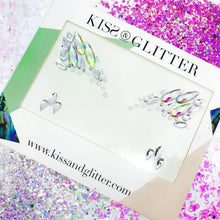 Product Photo with packaging: holographic white one piece stick on festival face gems by Kiss & Glitter