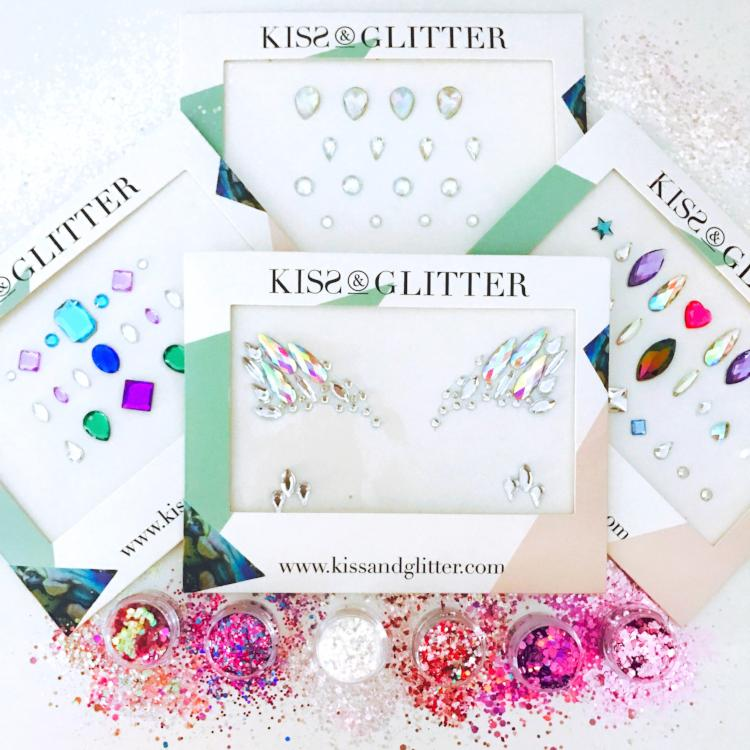 Product Photos with packaging - Chunky Glitters & Face Gems set by Kiss & Glitter