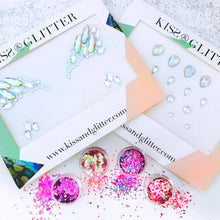 Product Photos with packaging - Chunky Festival Glitters Pink Ladies Collection and Iridescent Festival Face Gems set by Kiss and Glitter