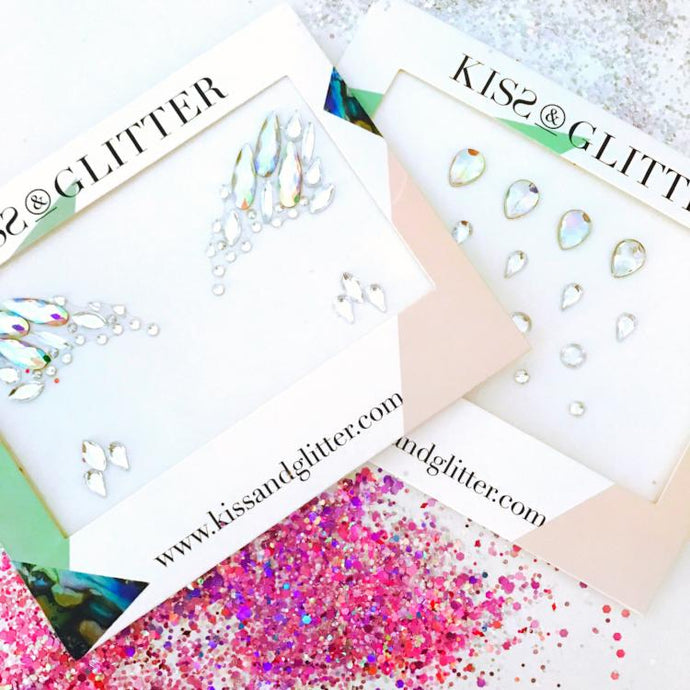 Product Photo of Iridescent White Festival Face Gems Collection by Kiss and Glitter