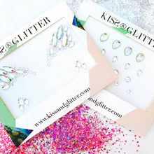 Product Photos with packaging of the iridescent Festival stick on Face Gems set by Kiss and Glitter