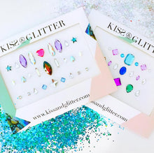 Product Photo with packaging of holographic multi-coloured stick on festival face gems by Kiss & Glitter