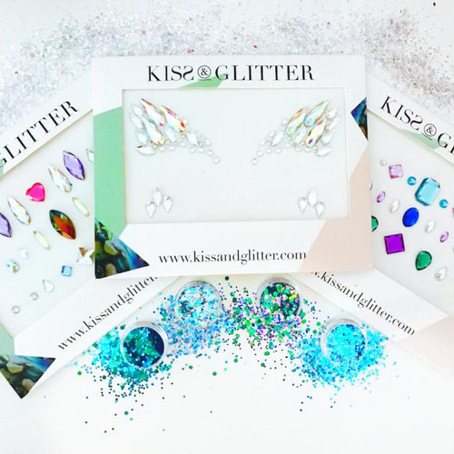 Product Photos with packaging of The Blues Brothers Chunky Festival Glitters Set and Mix & Match Face Gems by Kiss and Glitter