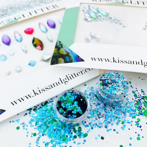 Product Photo close up of turquoise blue and green Chunky Festival glitters and festival face gems by Kiss & Glitter