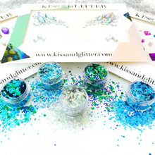 Close up Product Photos with packaging - The Festival Fantasy Chunky Festival Glitters & Face Gems set by Kiss and Glitter