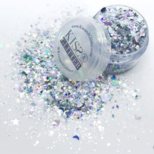 Whitney - White and Silver Stars, Moons and Hearts Chunky Festival Glitter