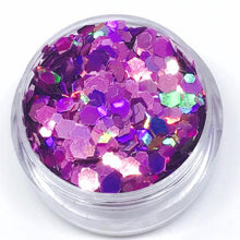 Product Photo Close up of holographic purple Chunky Festival glitter by Kiss & Glitter