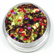 Product Photo close up of holographic gold and red Chunky Festival glitter by Kiss & Glitter