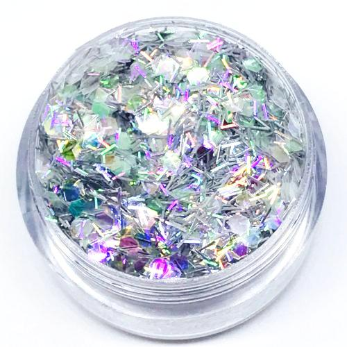 Product Photo close up of silver and iridescent white Chunky Festival glitter by Kiss & Glitter