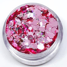 Product Photo Close up of Pink, and holographic silver Chunky Festival glitter by Kiss & Glitter