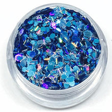 Product Photo Close Up of Blue and holographic Silver Chunky Festival Glitter by Kiss & Glitter
