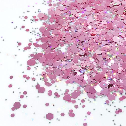 Product Photo without Packaging of Pink, and holographic silver Chunky Festival glitter by Kiss & Glitter