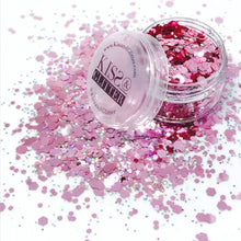 Product photo with packaging of pink and silver holographic chunky festival glitter by Kiss and Glitter
