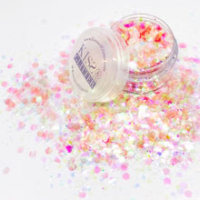 Product Photo with Packaging of iridescent Peach Chunky Festival glitter by Kiss & Glitter