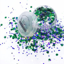 Product Photo with Packaging of Green, Purple and White Chunky Festival glitter by Kiss & Glitter