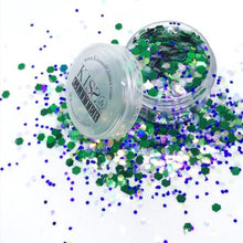 Product Photo close up of Green, Purple and White Chunky Festival glitter by Kiss & Glitter