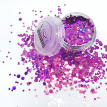 Close up Product Photos with packaging of Holographic purple Chunky Festival Glitters by Kiss & Glitter