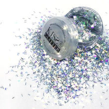 Product Photo with packaging close up of holographic silver chunky festival glitter by Kiss and Glitter